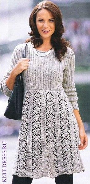 Платье комбинированной вязки