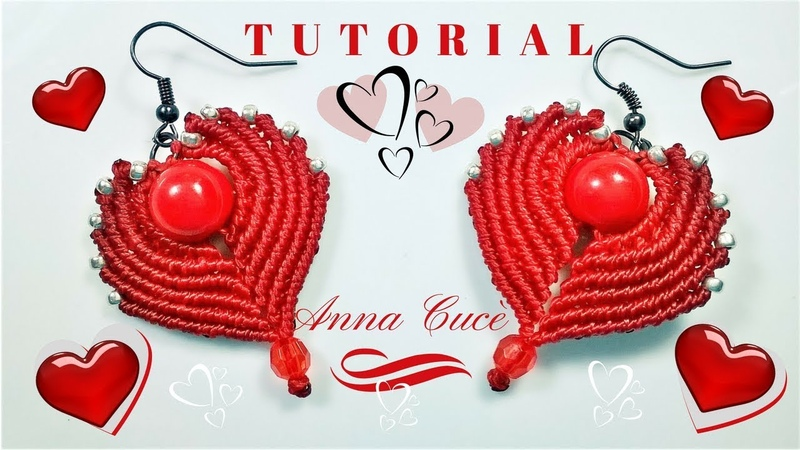 Tutorial earrings Cuore Heart How to make easy macrame hearts for earrings for St Valentine's day