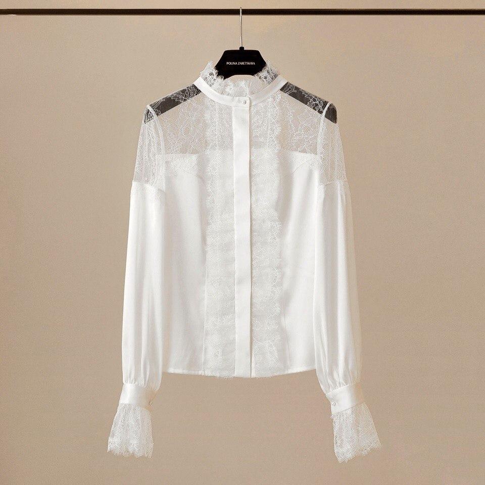 Тонкое соединение шелка и кружева: блуза молочно-белого цвета - индивидуальный заказ для прекрасной Маргариты.