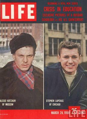 Обложка журнала «Лайф» от 24 марта 1958 года. Главный герой публикации в журнале Алексей Куцков. Тогда имя этого московского школьника узнал весь мир.Началась эта история в солнечный осенний