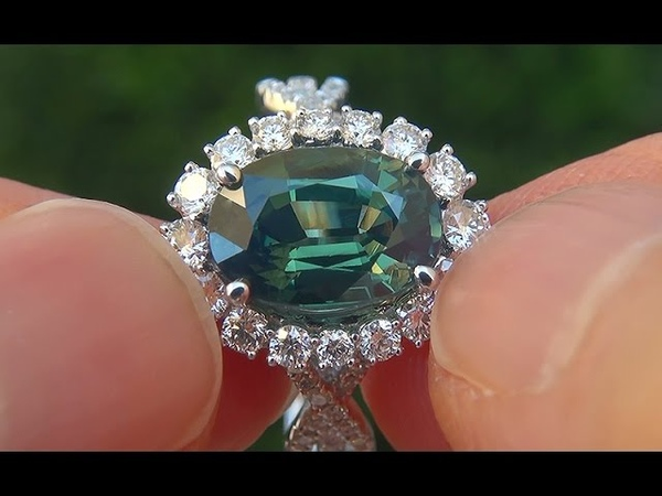 GIA Certified UNHEATED 6.11 ct VVS1 Green Sapphire Diamond 18k Gold Engagement Ring - A141478
