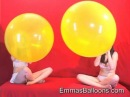 Alexia and friend blow to pop huge balloon race