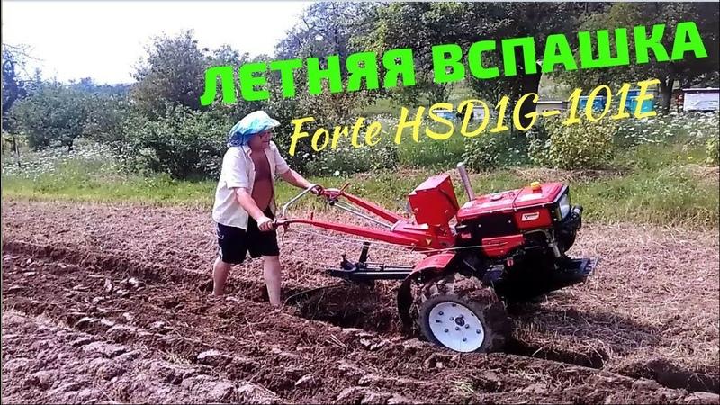 Пашем мотоблоком Forte HSD1G-101E PLUS с плугом ЧП Крючков