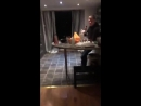 Lad jump hugs his mate and falls out the glass door