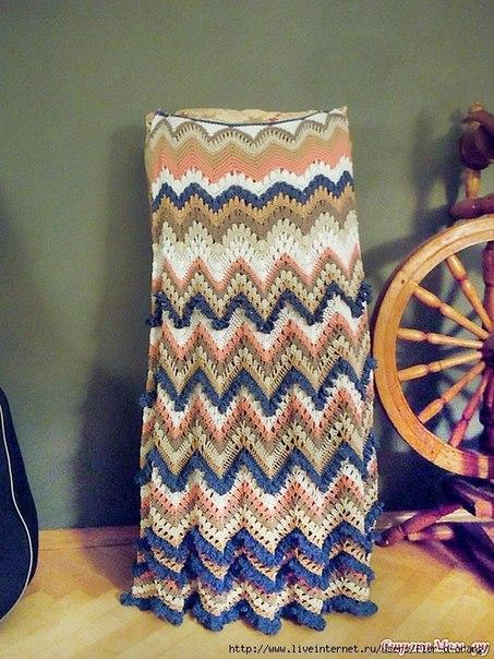 длинная юбка зигзаг в стиле миссони (6 фото) - картинка