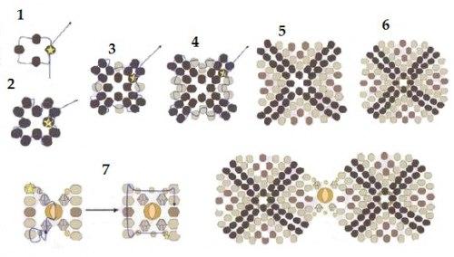 Схема браслета квадратами