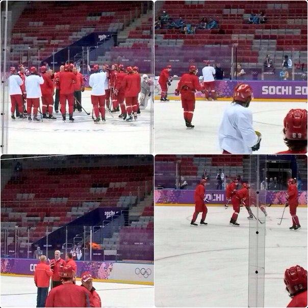"""#LIVE На """"Большом"""" началась первая тренировка #сборнаяроссии #хоккей. Интересно о чем говорят тренеры?"""
