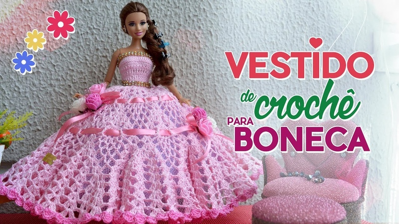Vestido para bonecas em crochê | Raquel Gaúcha