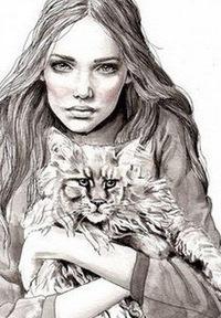 """Оригинал - Схема вышивки  """"Девушка с кошкой """" - Схемы автора  """"Tanyfka200936 """" - Вышивка крестом."""