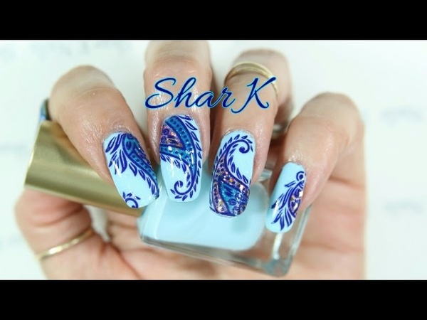 Nail Art Design - Blue Purple Glitter Swirl