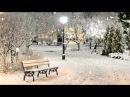 Парк. Снег. Скамья. Фонарь - Футаж для видеомонтажа в Full HD1080p качестве бесплатно