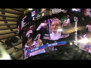 Джиджи и Белла на хоккейном матче «Нью-Йорк Рейнджерс» – 19 декабря