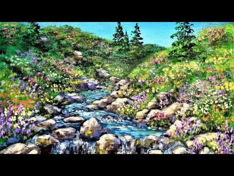 Stream with Wildflowers Landscape Acrylic Painting LIVE Instruction