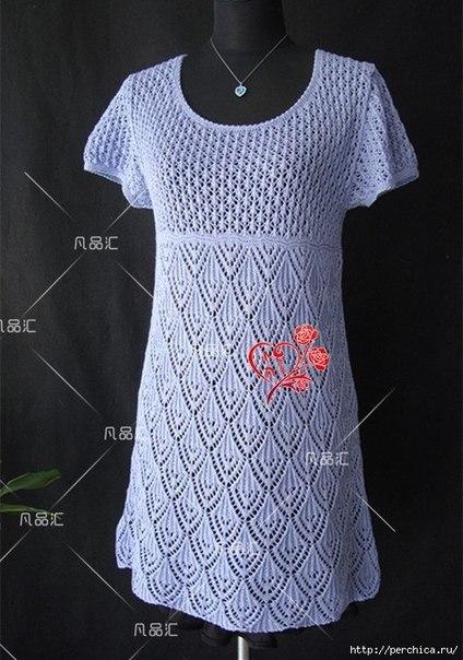 Ажурное платье спицами (9 фото) - картинка