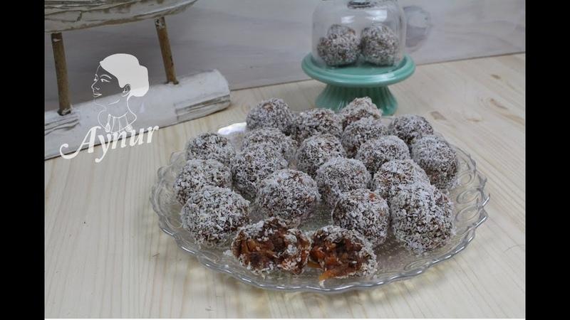 Турецкие морковные шарики с шоколадной бисквитной крошкой миндалем грецкими орехами в кокосовой стружке Bisküvili Havuç Topları tarifi I 3 Malzemeyle Tatli krizine en kolay care