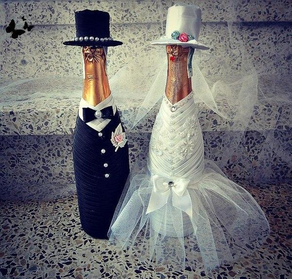 Украшение на бутылки своими руками на свадьбу