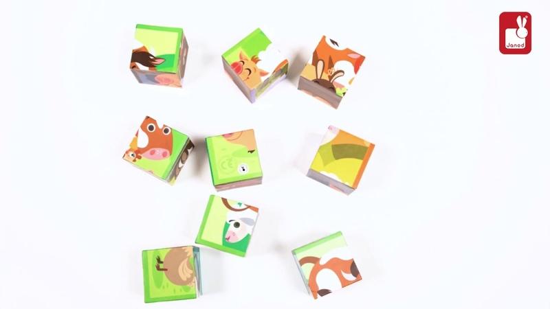 Кубики Животные фермы: 9 элементов