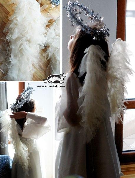 Ангельские крылышки из тюля и вешалки для одежды
