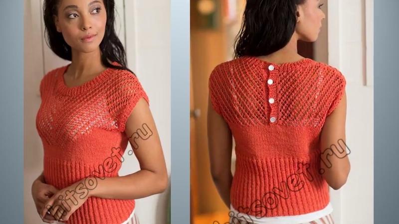Летние блузы, кофточки, топы спицами со схемами. Вязание. Knitting \ Knitted \ Diy