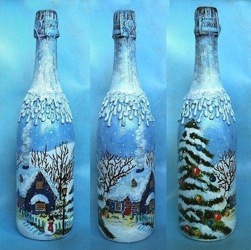 Украсить бутылку шампанского своими руками декупаж