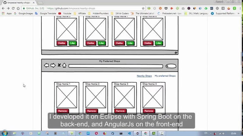 Mini project web application Java Spring Boot AngularJs MongoDB NearbyShops