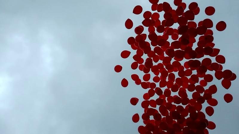 Торжественный запуск 3000 шаров в виде флага