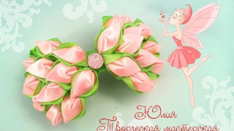 Праздничная заколка канзаши к 8 марта совместно с LiliaLady777 Прически косы плетение ...