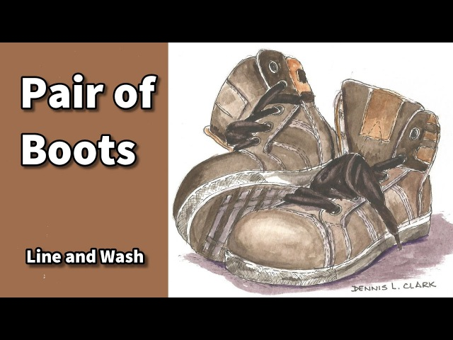 How to draw and paint a pair of boots in watercolor line and wash