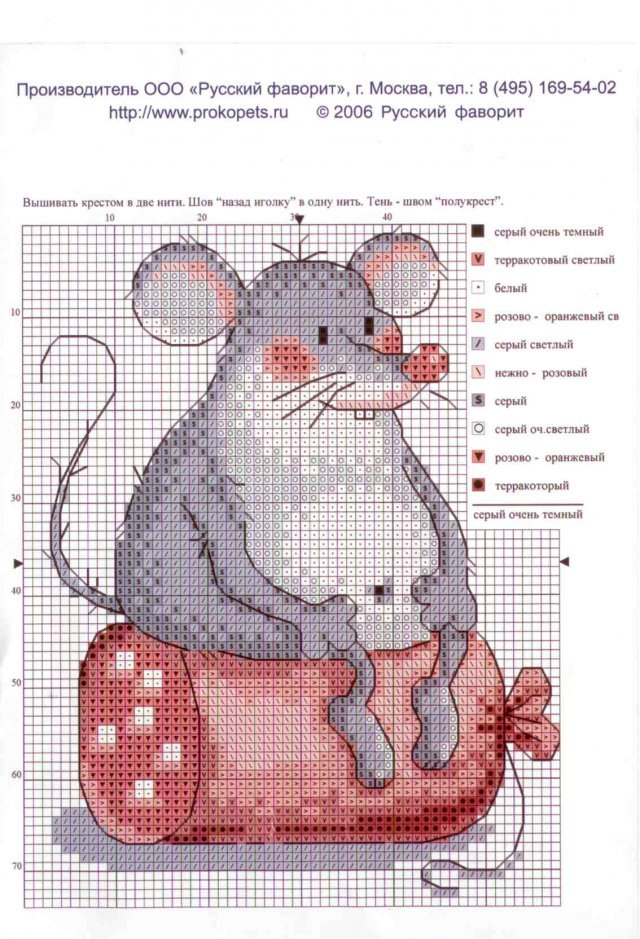 Схемы вышивки мышат