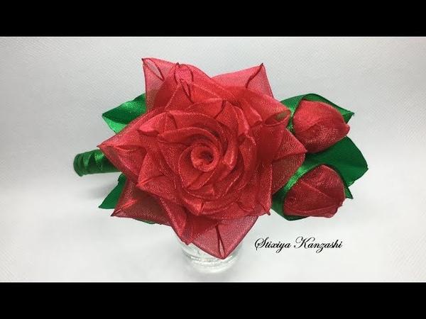 Украшение на ободок Канзаши / Роза из органзы