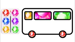 How to Draw Shool Bus with Colored Glitter | Glitter Colors Drawing and Coloring for Kids