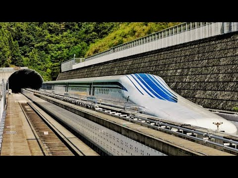 Japanese Maglev High-Speed Train rides at a speed of over 500 kmh (311mph)