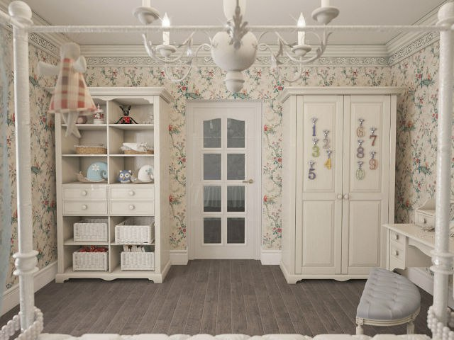 Детская спальня в стиле прованс, проект дизайна интерьера детской комнаты в прованском стиле