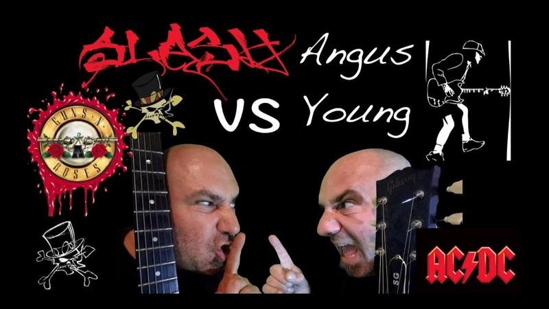 Slash (GN'R) VS Angus Young (AC/DC) Guitar Battle