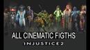 INJUSTICE 2 All Cinematic Fights Mutant Ninja Turtles Enchantress Atom fighter pack 1 2 3