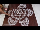 Very easy flower rangoli with dots 11 * 6 dots rose kolam rose flower rangoli design simple rangoli