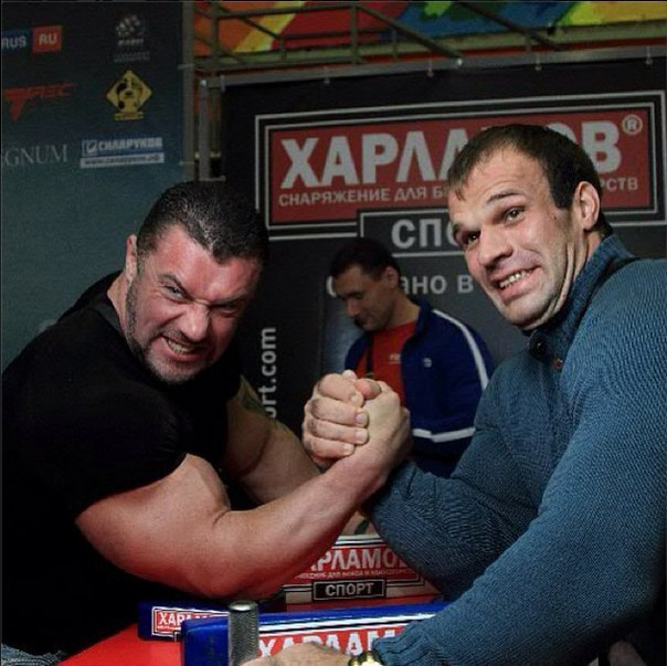 Michael Sidorychev - Denis Cyplenkov - at the armwrestling table