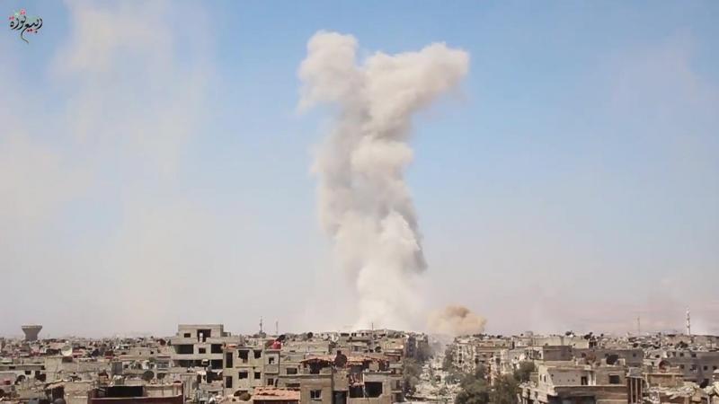 Сирия.24-04-2018.Авиаудары ВВС САР по позициям ИГ в Ярмук