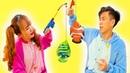 Competição De Pesca Ao Ar Livre Com Brinquedos e Piadas Divertidas Do Bebê