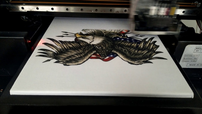 A3 dtg direct to garment printer white color eagle design tshirt sample video shenzhen inz tech