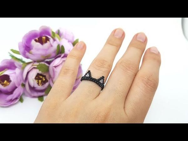 Кошечка - кольцо из бисера МК Натали Амапола.