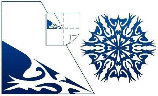 """Схемы снежинок из бумаги.  НЕПЛОХОЙ САЙТ по рукоделию  """"Любимое дело.ру """"... для начинающих рукодельниц."""