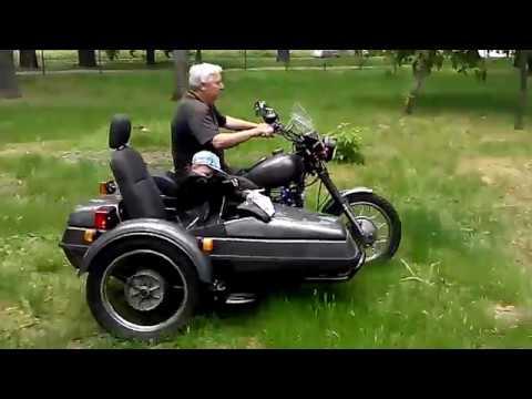 Мотоцикл Днепр МТ-11 Внук тестирует коляску