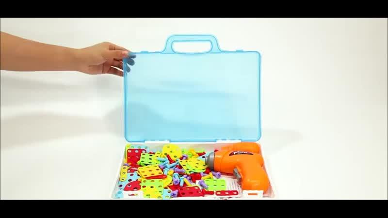 Детская сборно-разборная развивающая игрушка с дрелью и отвёрткой