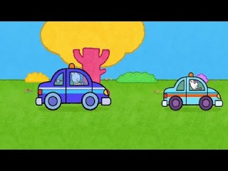 Мультфильмы для Малышей - Рисунки Тёмы - Нарисуй полицейскую машину