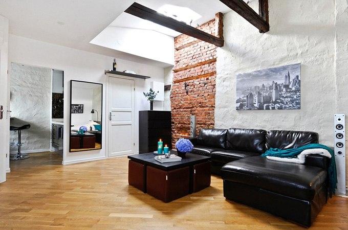 Квартира 35 м на мансардном этаже в Гётеборге / Швеция - http://kvartirastudio.