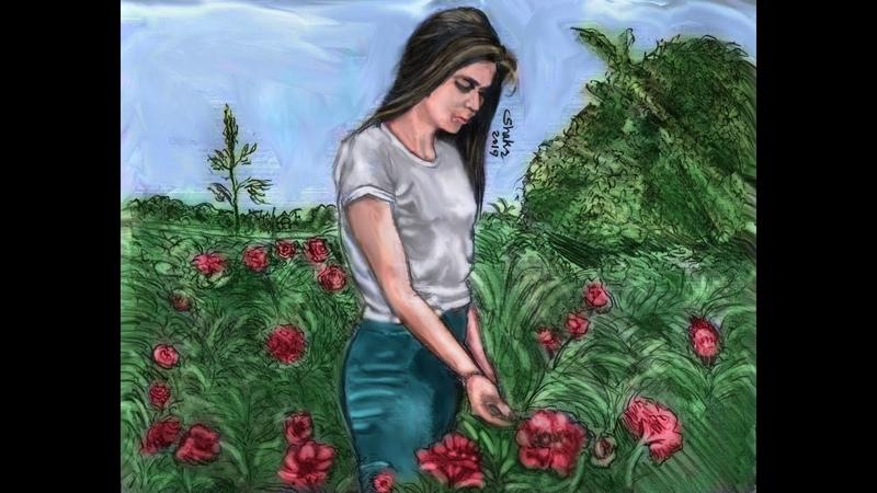 Drawing girl reap flowers..Çizim kız çiçek biçmek...رسم فتاة تقطف الزهور
