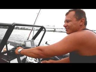 Прогулка по Днепру на катере. Walk along the Dnieper River by boat