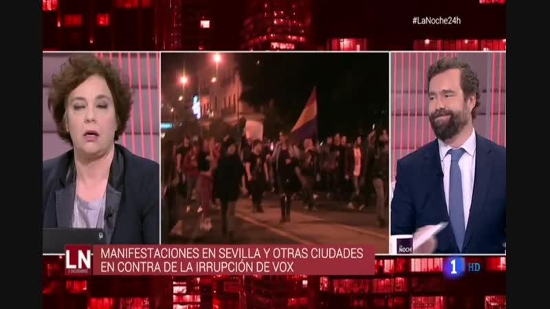 Tensión entre Iván Espinosa (Vox), diputada Podemos y presentador de La Noche en 24h por las manifestaciones espontáneas en Anda
