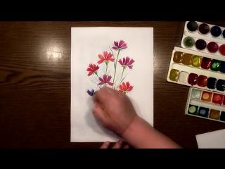 Быстрое Рисование | Букет Гвоздик | Акварель